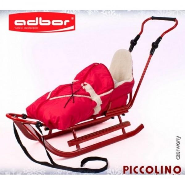Детские санки Adbor Piccolino  красный + конверт+ подножки для санок